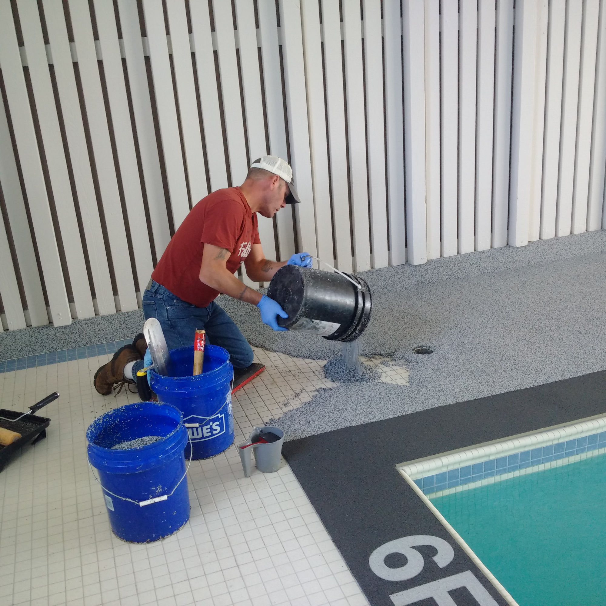 Indoor Pool Troweling In Place